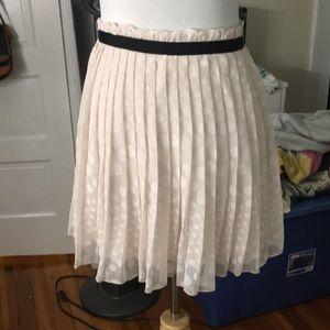 Blush Pink Pleated Chiffon Skirt with Paperbag Hem